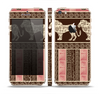 The Aztec Pink & Brown Lion Pattern Skin Set for the Apple iPhone 5s