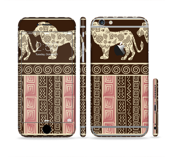 The Aztec Pink & Brown Lion Pattern Sectioned Skin Series for the Apple iPhone 6 Plus