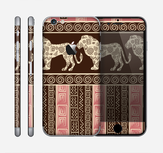 The Aztec Pink & Brown Lion Pattern Skin for the Apple iPhone 6