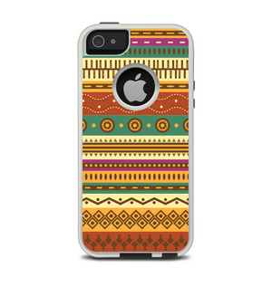 37f6dd0db786e7 The Aztec Tribal Vintage Tan and Gold Pattern V6 Apple iPhone 5-5s Otterbox  Commuter