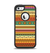 The Aztec Tribal Vintage Tan and Gold Pattern V6 Apple iPhone 5-5s Otterbox Defender Case Skin Set