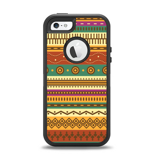 2dacfd56d2b4f4 The Aztec Tribal Vintage Tan and Gold Pattern V6 Apple iPhone 5-5s Otterbox  Defender