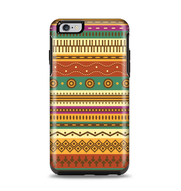 The Aztec Tribal Vintage Tan and Gold Pattern V6 Apple iPhone 6 Plus Otterbox Symmetry Case Skin Set