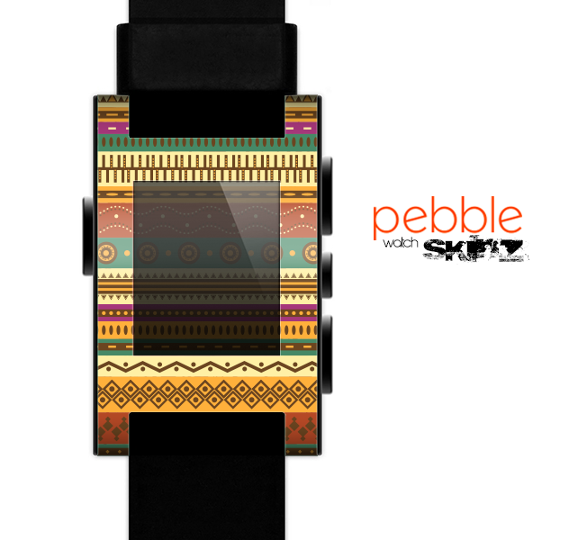 The Aztec Tribal Vintage Tan and Gold Pattern V6 Skin for the Pebble SmartWatch