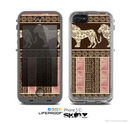 The Aztec ppink Lion Pattern Skin for the Apple iPhone 5c LifeProof Case