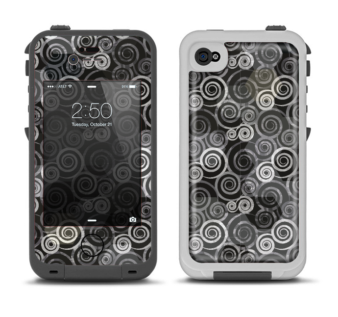 The Back & White Abstract Swirl Pattern Apple iPhone 4-4s LifeProof Fre Case Skin Set