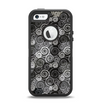 The Back & White Abstract Swirl Pattern Apple iPhone 5-5s Otterbox Defender Case Skin Set