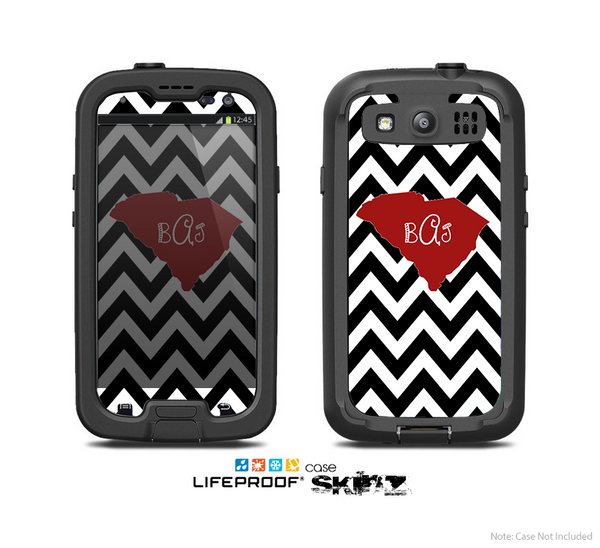The Black & White Chevron Pattern with Red Monogram SC State Skin For The Samsung Galaxy S3 LifeProof Case