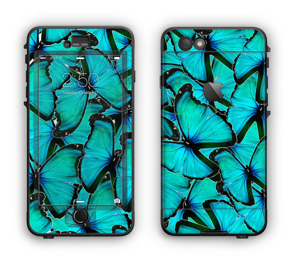 The Butterfly BackGround Flat Apple iPhone 6 LifeProof Nuud Case Skin Set