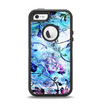 The Black & Bright Color Floral Pastel Apple iPhone 5-5s Otterbox Defender Case Skin Set
