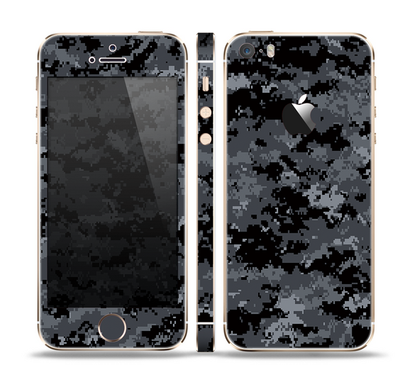 The Black Digital Camouflage Skin Set for the Apple iPhone 5s