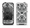 The Black Floral Delicate Pattern Apple iPhone 4-4s LifeProof Fre Case Skin Set