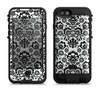 The Black Floral Delicate Pattern Apple iPhone 6/6s LifeProof Fre POWER Case Skin Set