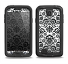 The Black Floral Delicate Pattern Samsung Galaxy S4 LifeProof Fre Case Skin Set