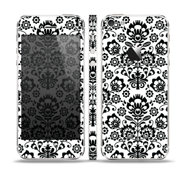 The Black Floral Delicate Pattern Skin Set for the Apple iPhone 5