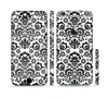 The Black Floral Delicate Pattern Sectioned Skin Series for the Apple iPhone 6