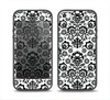 The Black Floral Delicate Pattern Skin Set for the iPhone 5-5s Skech Glow Case