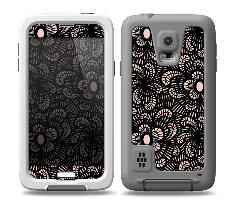 The Black Floral Lace Skin for the Samsung Galaxy S5 frē LifeProof Case