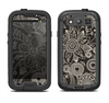 The Black Floral Laced Pattern V2 Samsung Galaxy S3 LifeProof Fre Case Skin Set