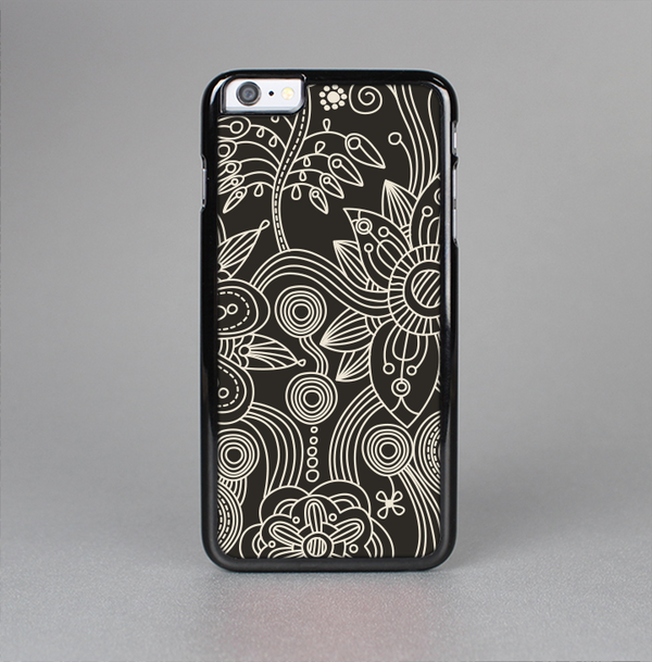 The Black Floral Laced Pattern V2 Skin-Sert Case for the Apple iPhone 6 Plus