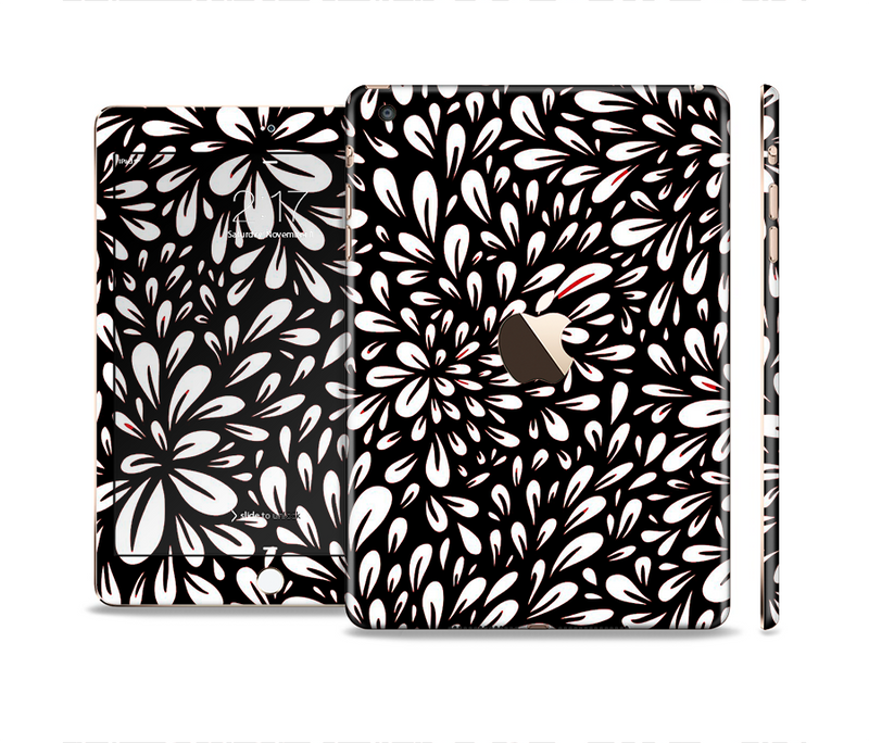 The Black Floral Sprout Full Body Skin Set for the Apple iPad Mini 3
