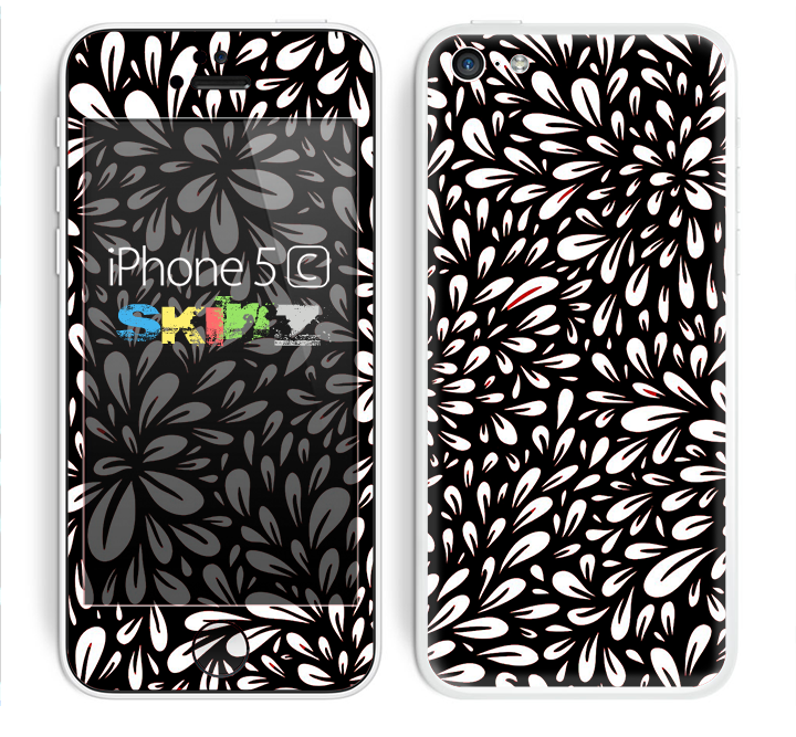 The Black Floral Sprout Skin for the Apple iPhone 5c