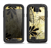 The Black & Gold Grunge Leaf Surface Samsung Galaxy S4 LifeProof Nuud Case Skin Set