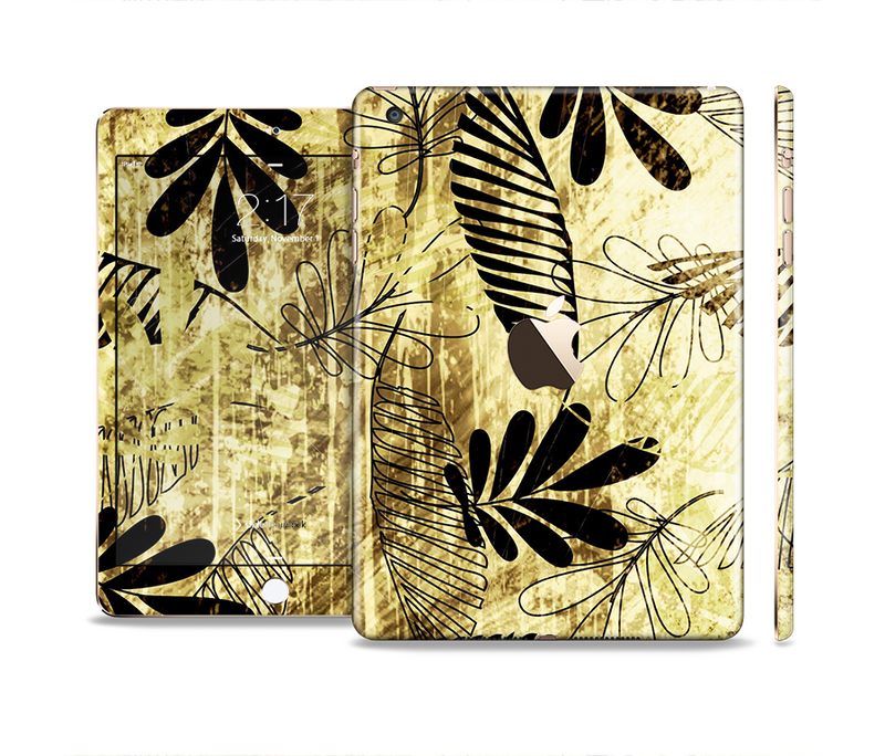 The Black & Gold Grunge Leaf Surface Full Body Skin Set for the Apple iPad Mini 3