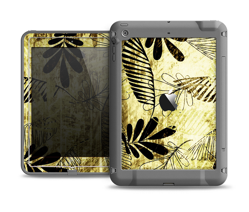 The Black & Gold Grunge Leaf Surface Apple iPad Air LifeProof Fre Case Skin Set