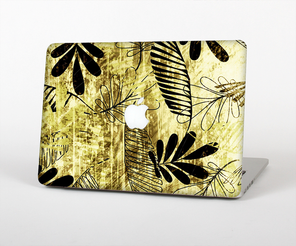 The Black & Gold Grunge Leaf Surface Skin Set for the Apple MacBook Air 11""