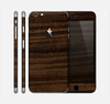 The Black Grained Walnut Wood Skin for the Apple iPhone 6 Plus