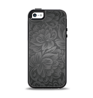 The Black   Gray Dark Lace Floral Apple iPhone 5-5s Otterbox Symmetry Case  Skin b2f24d3b58db