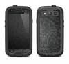 The Black & Gray Dark Lace Floral Samsung Galaxy S4 LifeProof Nuud Case Skin Set