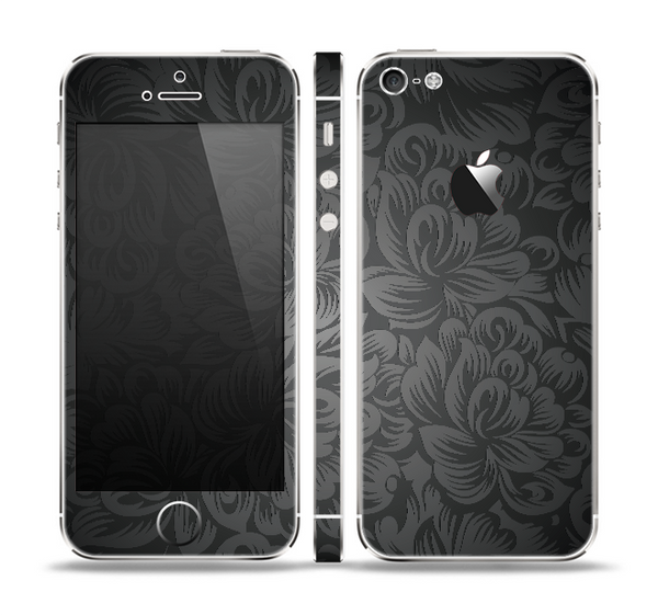 The Black & Gray Dark Lace Floral Skin Set for the Apple iPhone 5