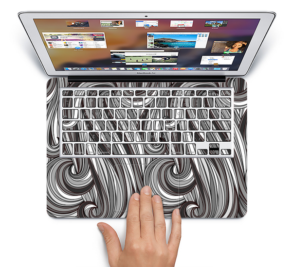 The Black & Gray Monochrome Pattern Skin Set for the Apple MacBook Air 11""