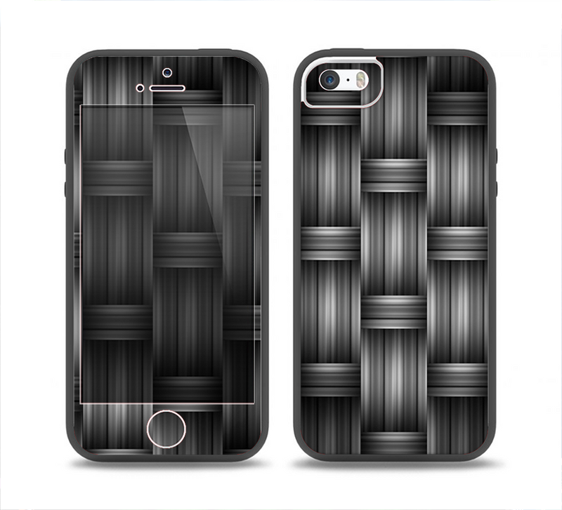 The Black & Gray Woven HD Pattern Skin Set for the iPhone 5-5s Skech Glow Case
