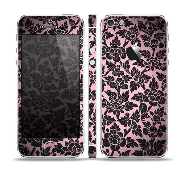 The Black & Pink Floral Design Pattern V2 Skin Set for the Apple iPhone 5