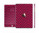 The Black & Pink Sharp Chevron Pattern Full Body Skin Set for the Apple iPad Mini 3