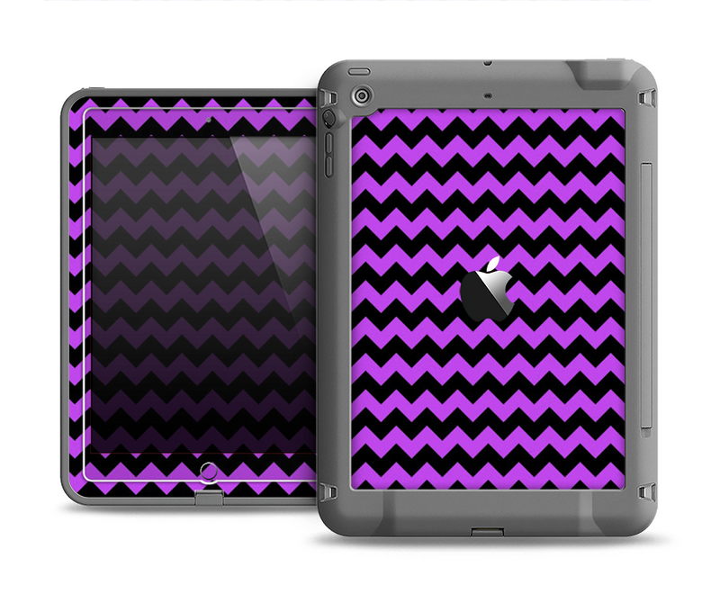 The Black & Purple Chevron Pattern Apple iPad Air LifeProof Fre Case Skin Set