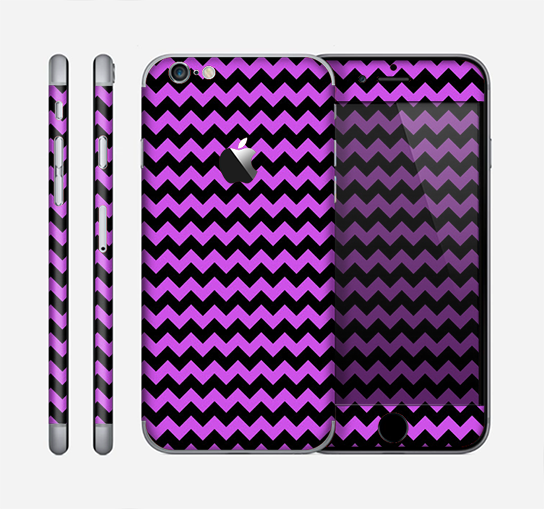 The Black & Purple Chevron Pattern Skin for the Apple iPhone 6