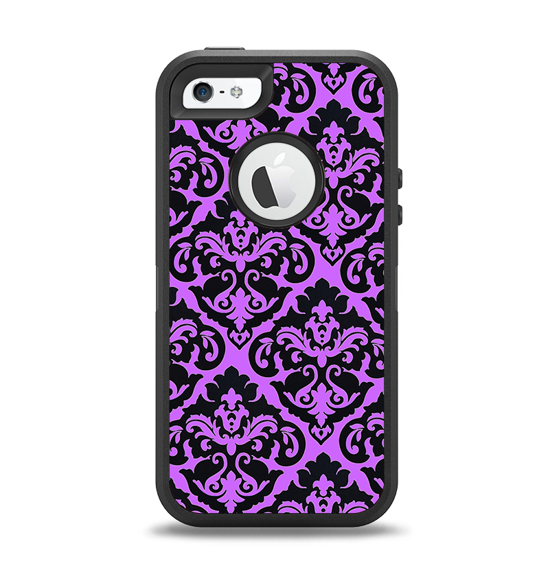 The Black & Purple Delicate Pattern Apple iPhone 5-5s Otterbox Defender Case Skin Set