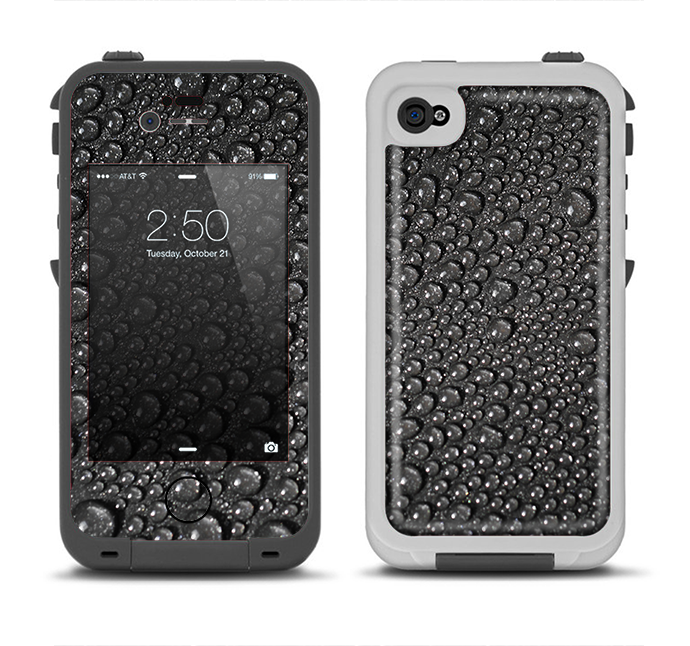 The Black Rain Drops Apple iPhone 4-4s LifeProof Fre Case Skin Set