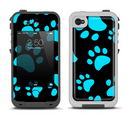 The Black & Turquoise Paw Print Apple iPhone 4-4s LifeProof Fre Case Skin Set