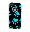 The Black & Turquoise Paw Print Apple iPhone 5-5s Otterbox Commuter Case Skin Set