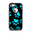 The Black & Turquoise Paw Print Apple iPhone 5-5s Otterbox Defender Case Skin Set