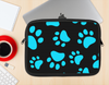 The Black & Turquoise Paw Print Ink-Fuzed NeoPrene MacBook Laptop Sleeve