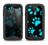 The Black & Turquoise Paw Print Samsung Galaxy S4 LifeProof Nuud Case Skin Set