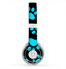 The Black & Turquoise Paw Print Skin for the Beats by Dre Solo 2 Headphones