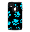 The Black & Turquoise Paw Print Skin for the iPhone 4-4s OtterBox Commuter Case