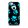 The Black & Turquoise Paw Print Skin for the iPhone 5c OtterBox Commuter Case